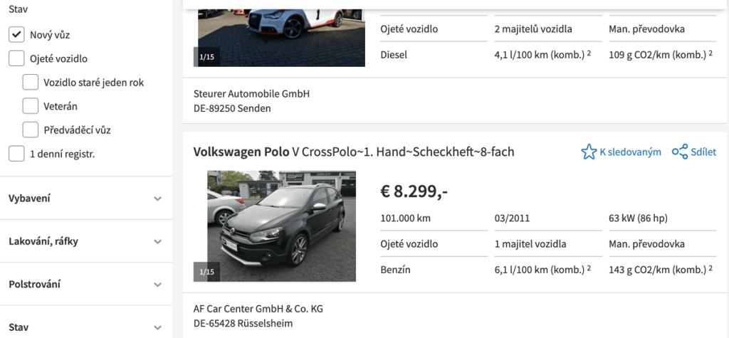 Výběr stavu vozu na autoscout24