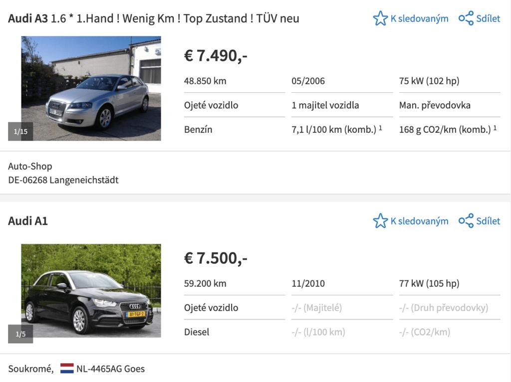 Výběr vozu na autoscout24